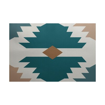 Geri Beach Geometric Print Aqua Indoor/Outdoor Area Rug Rug Size: Rectangle 2' x 3'