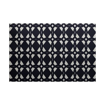 Carine Geometric Print Navy Blue Indoor/Outdoor Area Rug Rug Size: 4 x 6
