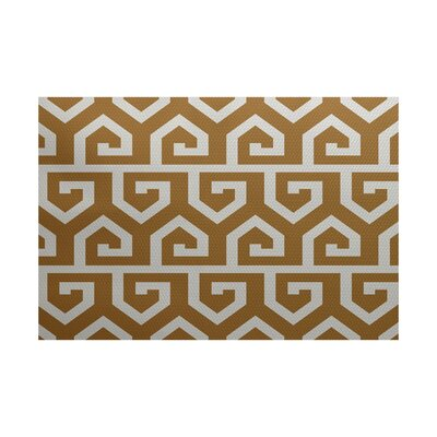 Georgia-May Geometric Print Gold Indoor/Outdoor Area Rug Rug Size: 3 x 5