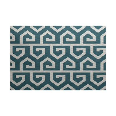 Whit Geometric Print Teal Indoor/Outdoor Area Rug Rug Size: 2 x 3