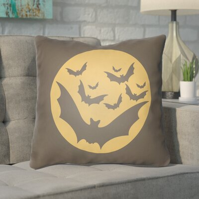 Alviva Bats Indoor/Outdoor Throw Pillow Color: Gray, Orange, Size: 20 H x 20 W x 4 D
