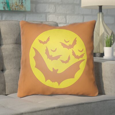 Boustrophedon Bats Indoor/Outdoor Throw Pillow Size: 20 H x 20 W x 4 D, Color: Orange