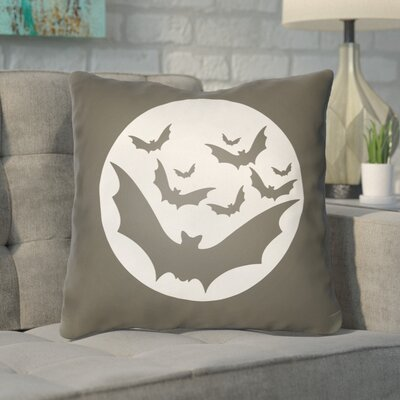 Alviva Bats Indoor/Outdoor Throw Pillow Color: Gray, White, Size: 20 H x 20 W x 4 D
