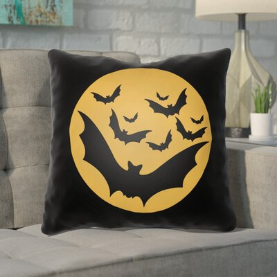 Boustrophedon Bats Indoor/Outdoor Throw Pillow Size: 18 H x 18 W x 4 D, Color: Black