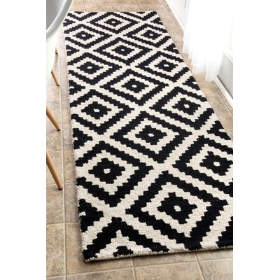 Obadiah Hand-Tufted Black Area Rug Rug Size: Runner 26 x 8