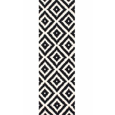 Obadiah Hand-Tufted Wool Black Area Rug Rug Size: Runner 26 x 12