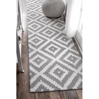 Obadiah Hand-Woven Wool Gray Area Rug Rug Size: Runner 26 x 12