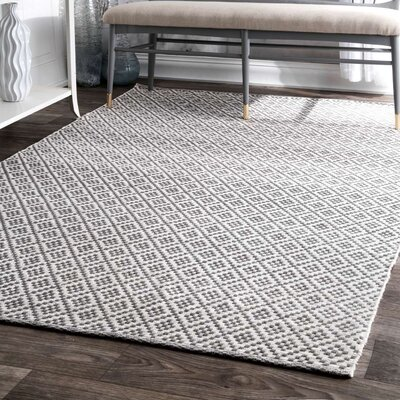 Malbrough Hand-Woven Cotton Beige/Ivory Area Rug Rug Size: Rectangle 9 x 12