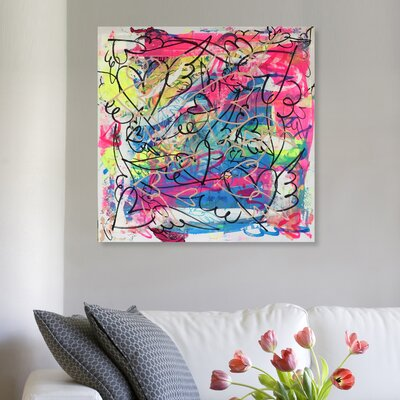 'Pinkish Dive' Painting Print on Canvas Size: 12'' H x 12'' W x 1.5'' D