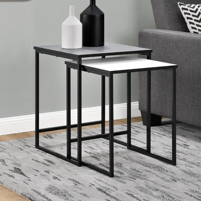 Caddell 2 Piece Nesting Tables Finish: Gray/White