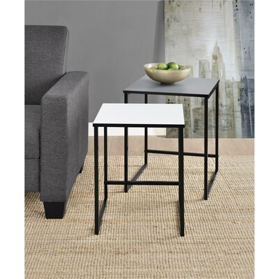 Caddell 2 Piece Nesting Tables Color: Gray/White