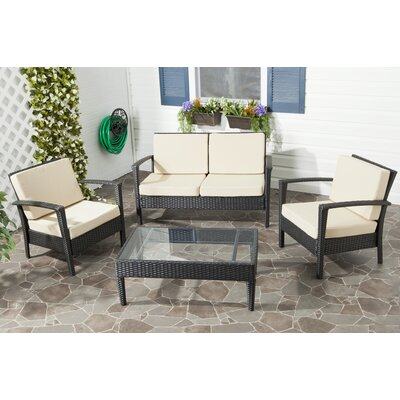 Cade 4 Piece Deep Seating Group Set with Cushion Fabric: Charcoal / Beige