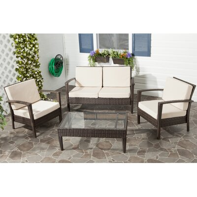 Cade 4 Piece Deep Seating Group Set with Cushion Fabric: Brown / Beige