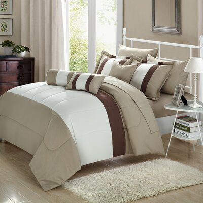Shelton 10 Piece Comforter Set Size: Queen, Color: Beige/Tan