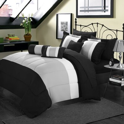 Shelton 10 Piece Comforter Set Size: Queen, Color: Black/Gray