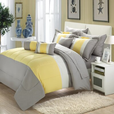Shelton 10 Piece Comforter Set Size: Queen, Color: Yellow/Gray