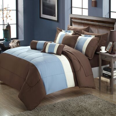 Calabro 10 Piece Comforter Set Size: King, Color: Blue/Brown