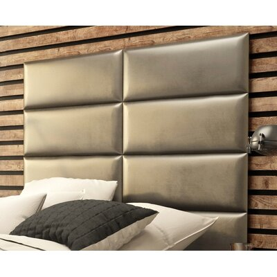 Calahan Upholstered Headboard Panels Size: 46 H x 39 W x 2.5 D, Upholstery: Metallic Champagne