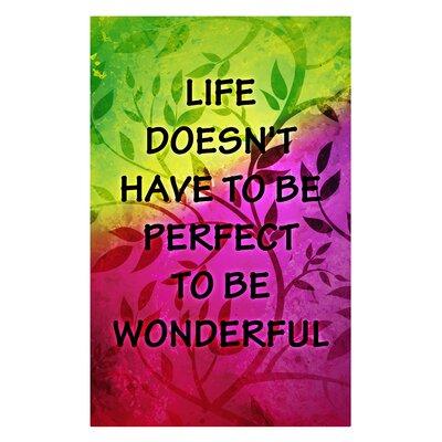 'Life is Wonderful' Textual Art on Metal