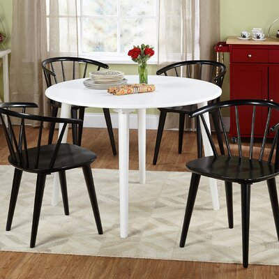 Arielle 5 Piece Wood Dining Set Chair Finish: Black