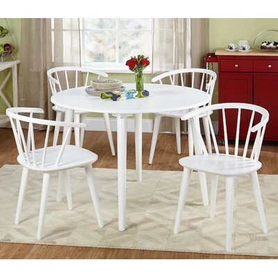 Mcdaniels 5 Piece Dining Set Chair Finish: White