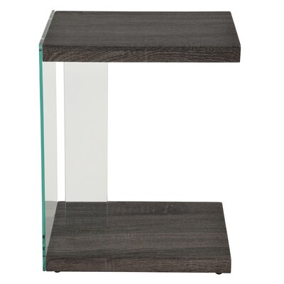 Cales Glass/Reclaimed End Table Finish: Gray