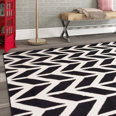 Shuster Bourban Chevron Black/White Area Rug