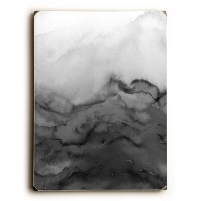 'Winter Waves' Graphic Art Print on Wood in Grayscale