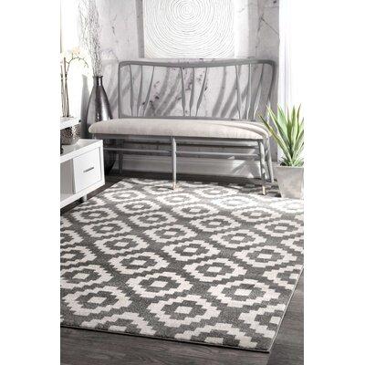 Noma Gray/White Area Rug Rug Size: 4 x 6