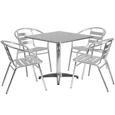 Cornette 5 Piece Square Patio Seating Group Table Size: 27.25 H x 31.5 W x 31.5 D