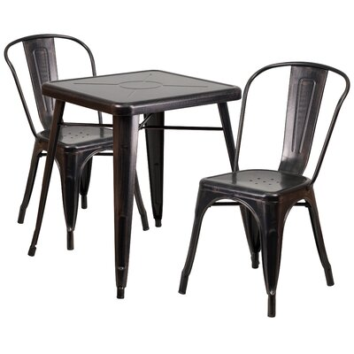 Corpus 3 Piece Bistro Set Finish: Black / Antique Gold