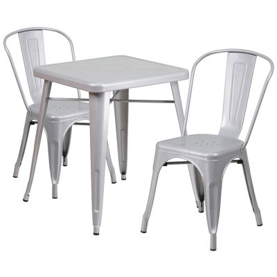 Corpus 3 Piece Bistro Set Finish: Silver