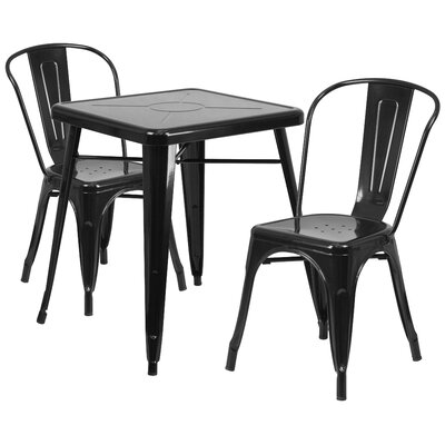 Corpus 3 Piece Bistro Set Finish: Black