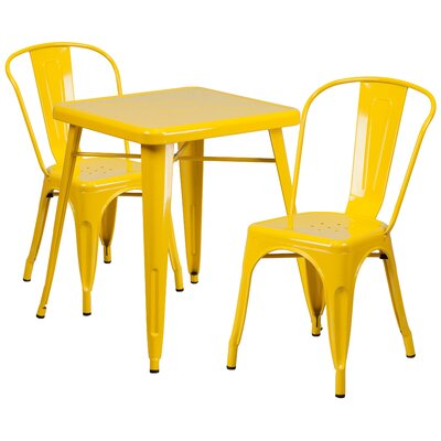 Corpus 3 Piece Bistro Set Finish: Yellow
