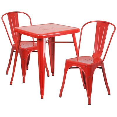 Corpus 3 Piece Bistro Set Finish: Red