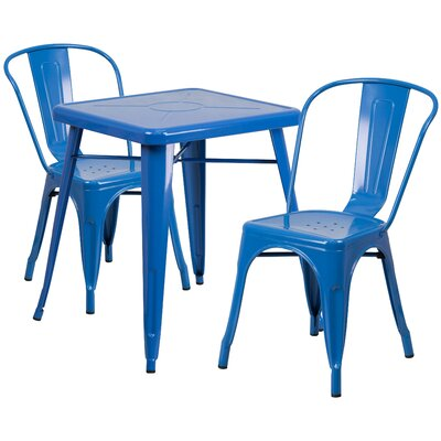 Corpus 3 Piece Bistro Set Finish: Blue