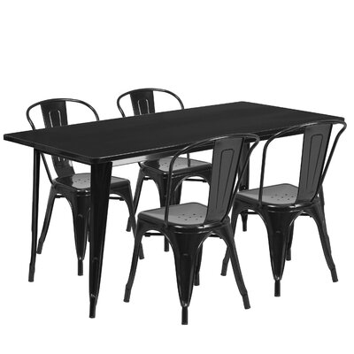 Corrado 5 Piece Dining Set Finish: Black