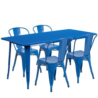 Corrado 5 Piece Dining Set Finish: Blue