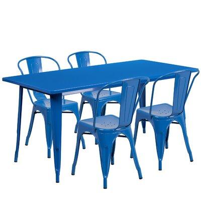 Image of Corrado 5 Piece Dining Set Finish: Blue