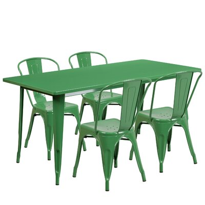 Corrado 5 Piece Dining Set Finish: Green