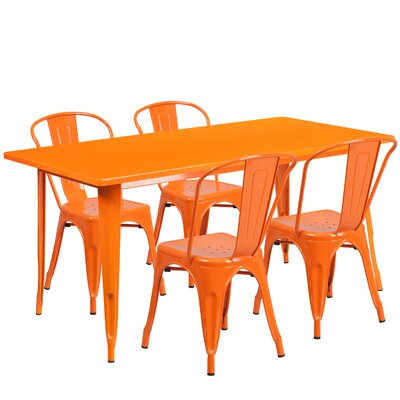 Corrado 5 Piece Dining Set Finish: Orange