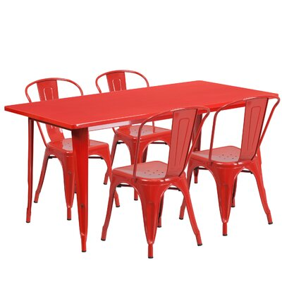 Corrado 5 Piece Dining Set Finish: Red
