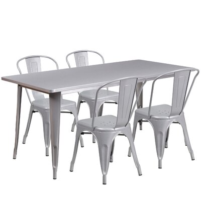 Corrado 5 Piece Dining Set Finish: Silver