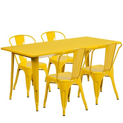 Corrado 5 Piece Dining Set Finish: Yellow