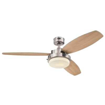 52 Corsa LED 3 Blade Ceiling Fan Finish: Brushed Nickel with Beech/Wengue Blades