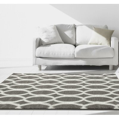 Corso Gray/White Indoor/Outdoor Area Rug Rug Size: 5 x 7
