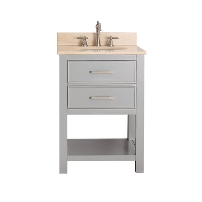 Cortland 25 Single Bathroom Vanity Set Base Finish: Chilled Gray, Top Finish: Galala Beige Marble