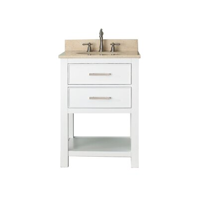 Cortland 25 Single Bathroom Vanity Set Top Finish: Galala Beige Marble, Base Finish: White