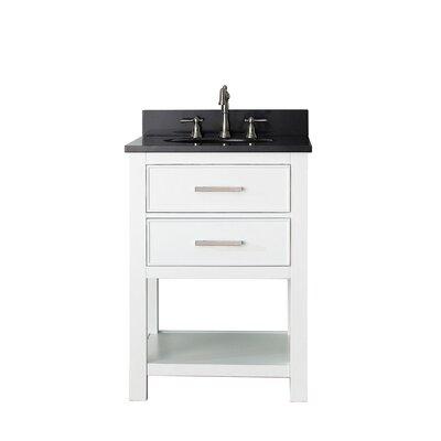 Cortland 25 Single Bathroom Vanity Set Top Finish: Black Granite, Base Finish: White