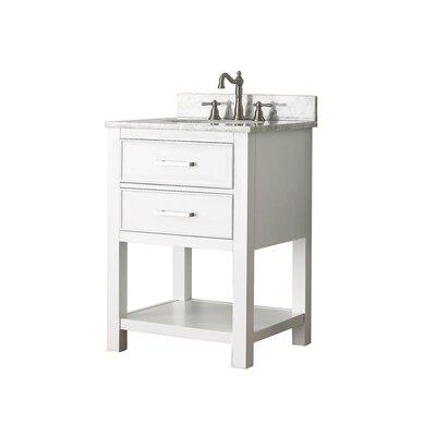Cortland 25 Single Bathroom Vanity Set Top Finish: Carrera White Marble, Base Finish: White